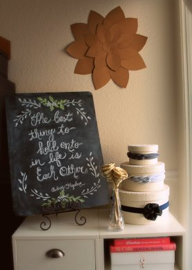 Chalkboard Re-creation & DIY Kraft Paper Flower by SparklingTwine.com