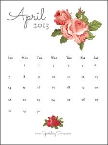 April 2013 Calendar - White