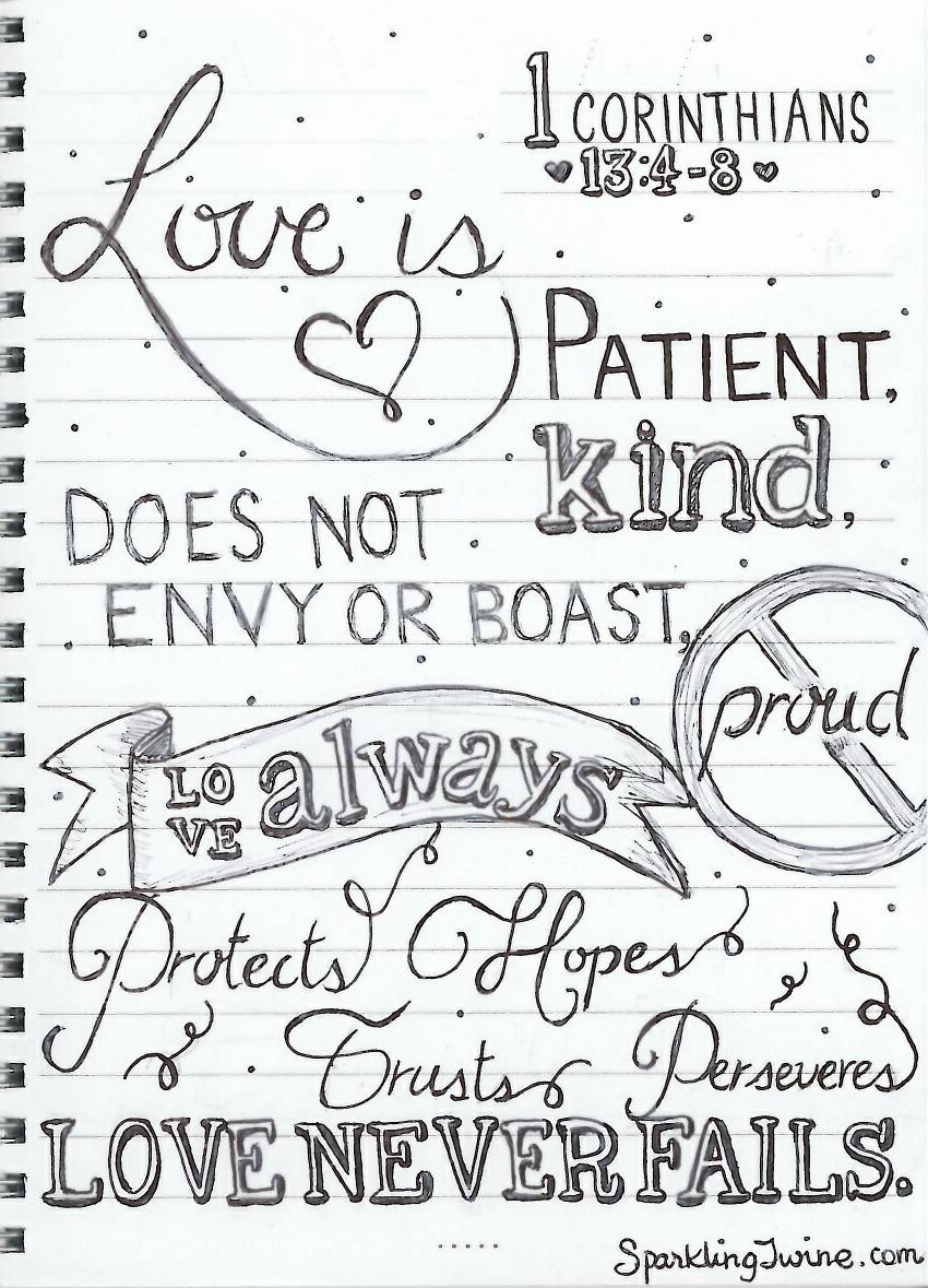 "Love Is Patient Quote 8 Months Of Marriage   & My ""Love Is"" Doodle  Sparkling Twine"