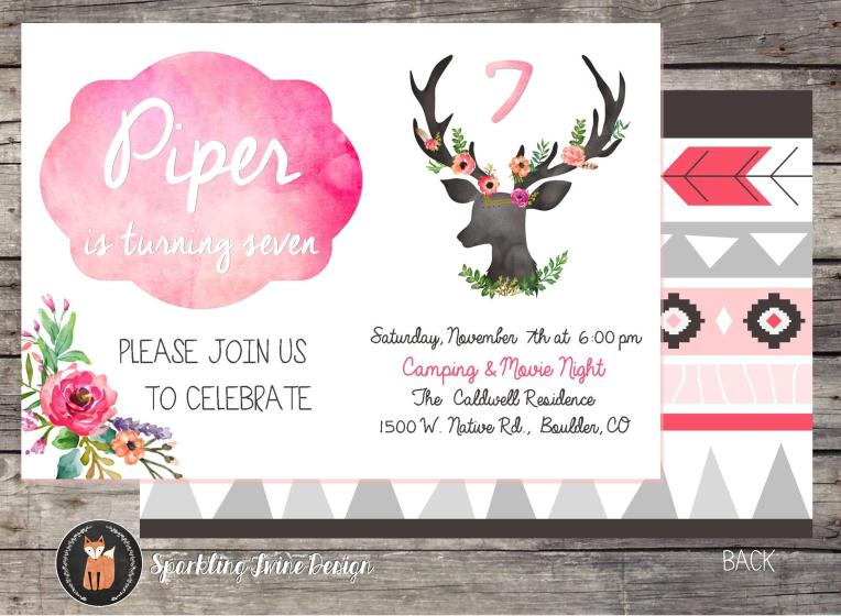 4x6 Boho Watercolor Birthday Party Invite - Etsy JPG