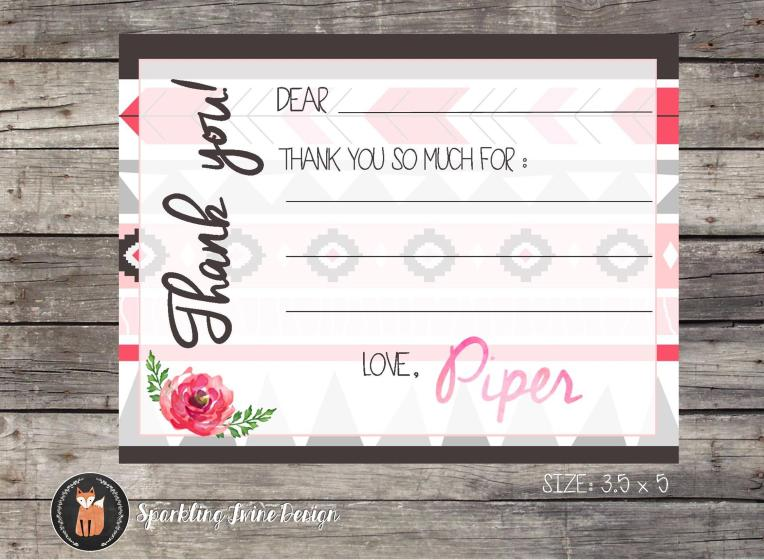 4x6 Boho Watercolor Birthday Party Thank You - Etsy JPG