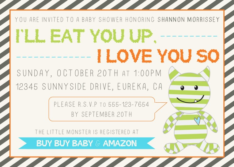 Monster Baby Shower Invite 5x7