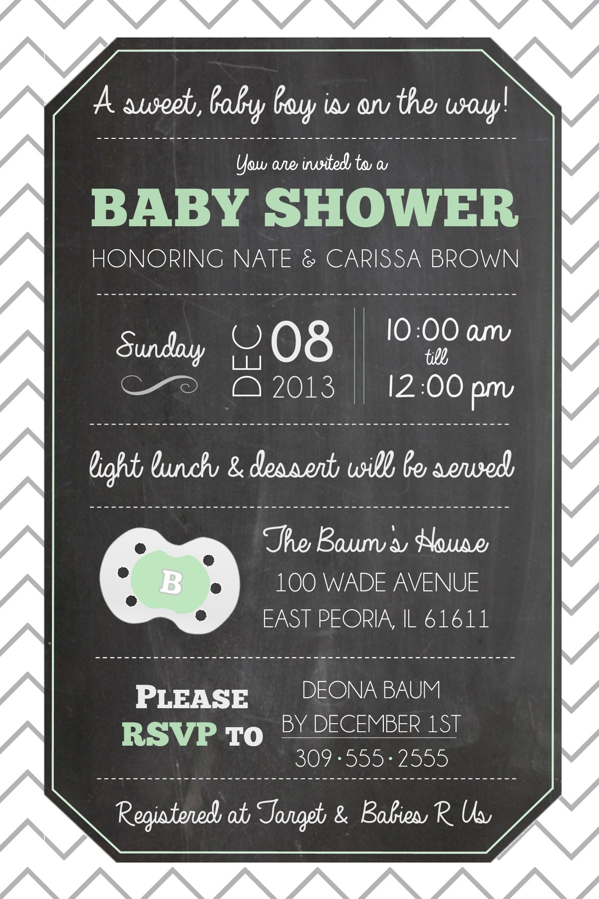 Chalkboard Inspired Invitations : : Baby Shower & Holiday Cookie ...