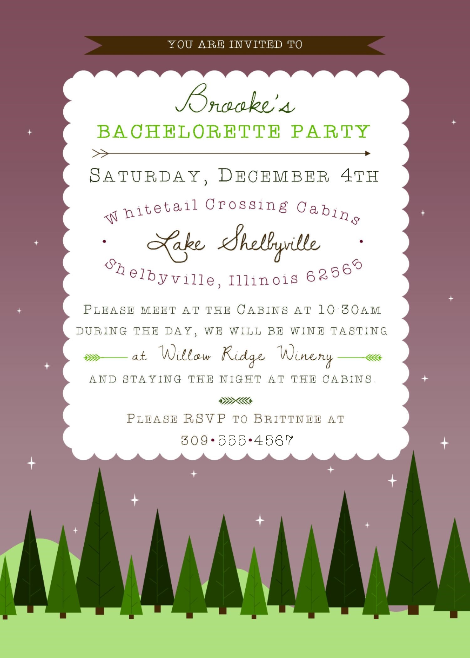 Fun, Woodland Bachelorette Party Invites – Sparkling Twine Design