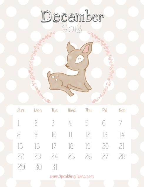 December 2013 Calendar by SparklingTwine.com - I love you my deer!